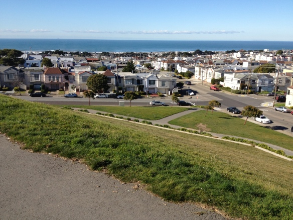 View from my apartment looking down at Ocean Beach.